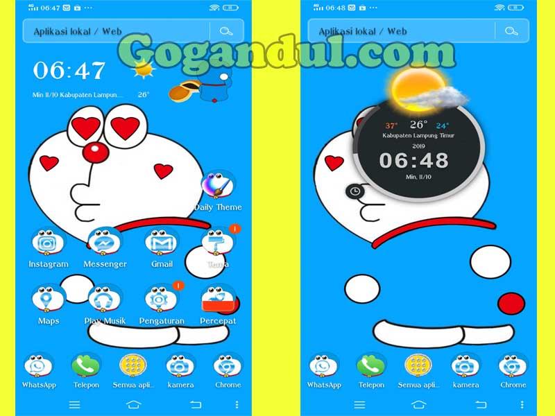 Download Aplikasi Tema Doraemon Lucu Dan Cara Memasangnya